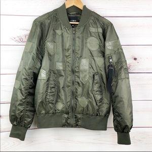 S209 WT02 green nylon bomber jacket